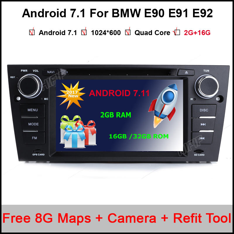 7 inch Android 7.11 Quad Core 2Din Car DVD Player for BMW E90 /E91 /E92 /E92 HD Stereo Audio Radio support DAB+GPS Navigation