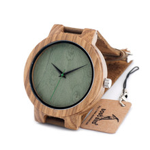 BOBO BIRD C18 Zebra Round Wooden Watches Japanese Movement Quartz Green Dial Casual Montre Homme With Leather Strap in Gift Box