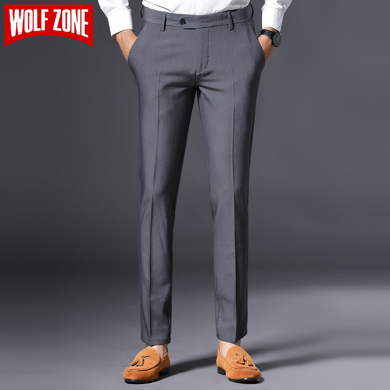 2018 Spring Classic Elastic Casual Pants Men Business Mens Fashion Dress Slim Fit Stretch Long Trousers Male Black Blue Gray