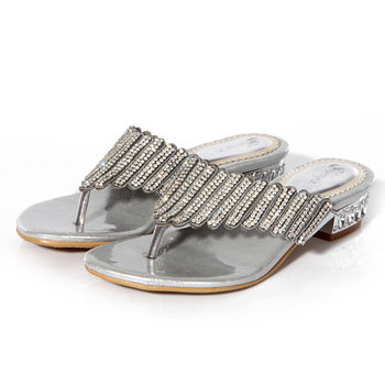 Women's Fashion Flat Shoes Slippers Flip Flops Rhinestone Crystal Dress Sandals