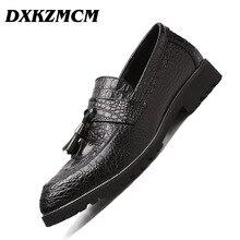 DXKZMCM Handmade Men Dress Shoes Men Formal Oxfords British Men Leather Shoes Dropshipping