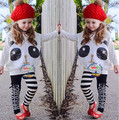 New Girls summer and autumn clothing set kids girls Panda pattern long-sleeved t shirt+striped pant 2 pieces clothing sets