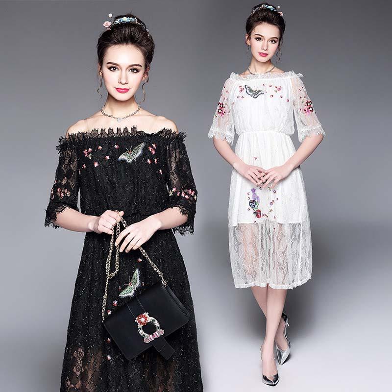 Female Summer Elegant Dresses Lace Embroidery Animals Half Sleeve Slash neck Plus Size Women Dresses Big Size 5XL