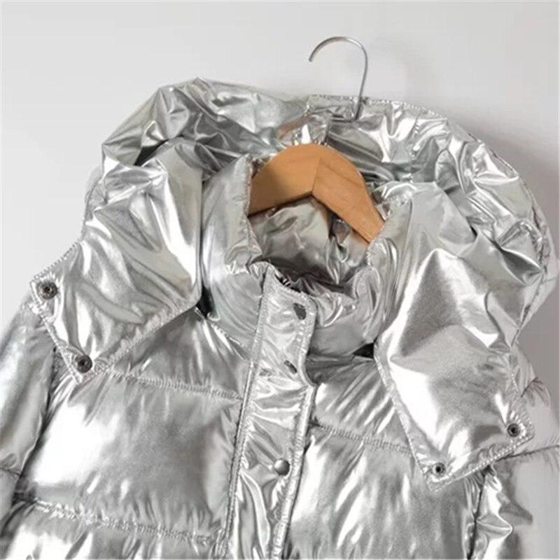 Silver Chaud Épais Hiver En Manteau Argent Hjb243 Vêtements Mode Pain À 2018 Qualité Capuchon Haute Neuf Métal Coton De Femmes HaOT4WH