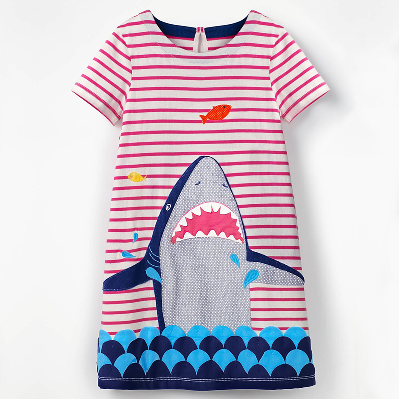 Girls Dresses 2018 Summer Striped Shark Pattern Party Birthday Kids Clothes Cotton Regular Fashion Round Neck Children Clothing цена