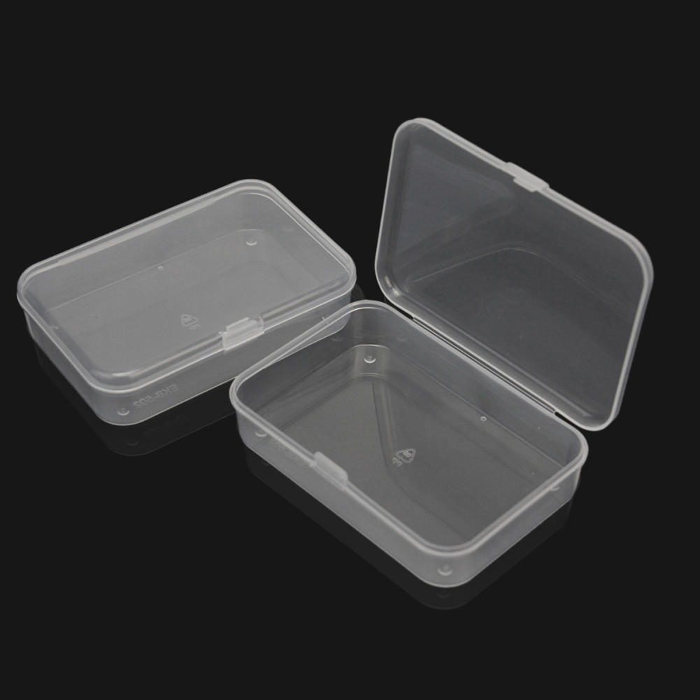 2pcs durable plastic transparent storage box small craft items collection container case