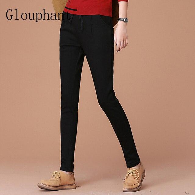Glouphant Solid Slim Cotton Winter Pant Women Thicken Warm Casual Long Harem Pants Women Pants 2017 Women's Pantalon Femme Hiver