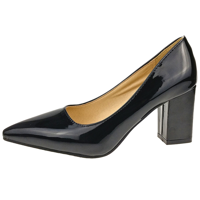 Aphixta Shoes Women Pointed Toe Pumps Sapato feminino 7.5cm High Square Heels Patent Leather Fashion Work Black Party Shoes