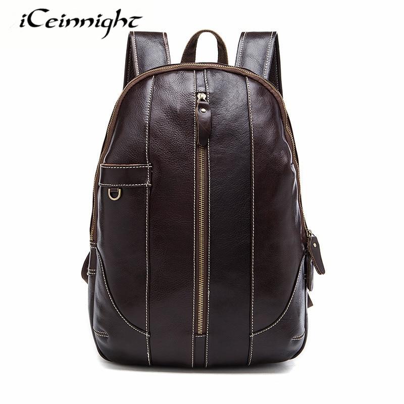 ФОТО iCeinnight Men Backpack Genuine Leather Luxury Brand Travel Bags Men Laptop Bag Vintage Casual School Backpacks for Teenagers