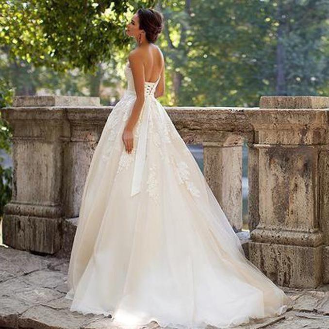 Lace Up Back Plus Size Wedding Dresses Light Champagne A ...
