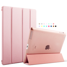 For Apple iPad 4 Case PU Transparent Back Ultra Slim Light Weight Trifold Smart Tablet PU For ipad4 case  Cover for iPad 23 case