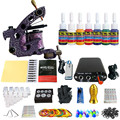 Solong Tattoo New Beginner 1 Pro Machine Gun Tattoo Kit Power Supply Needle Grips tip 7 color ink set TK105-78