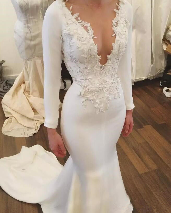 Mermaid Satin Lace Appliques Wedding Dresses V Neck Long Sleeves Bridal Gowns