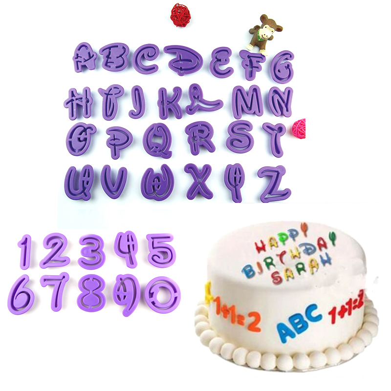 36pcs fun Font Alphabet Cookie Cutter Number Letter Set Cake mould Fondant Cake decoration fondant tools