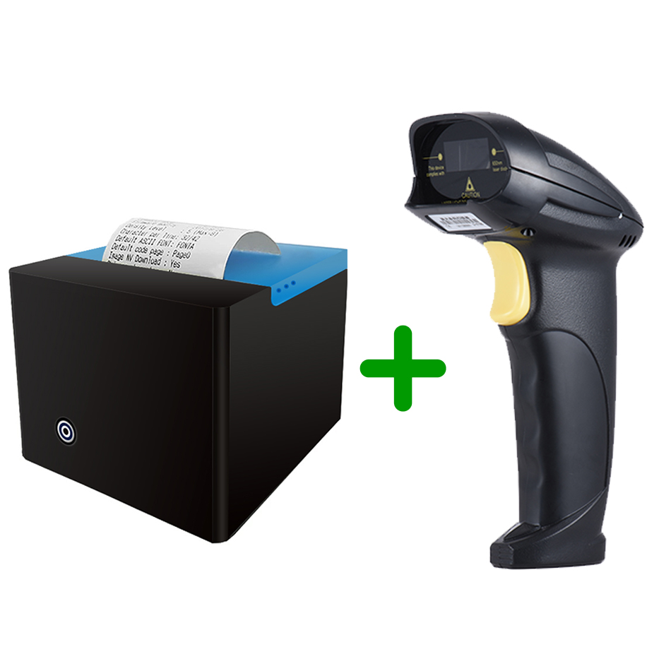 Bluetooth Printer and laser barcode scanner 1D USB 58mm Thermal Receipt Printer USB Port barcode reader