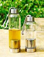 סיטונאי, כוס זכוכית מסנן נייד בקבוק מים עם מסננות תה + קומקום שקוף כיסוי כוס דליפת הוכחה 500 ML