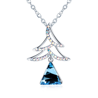Crystal From Swarovski Trendy Christmas Tree Necklaces Women Wedding Lady Crystal Pendant Necklace Jewelry Gifts Wholesale
