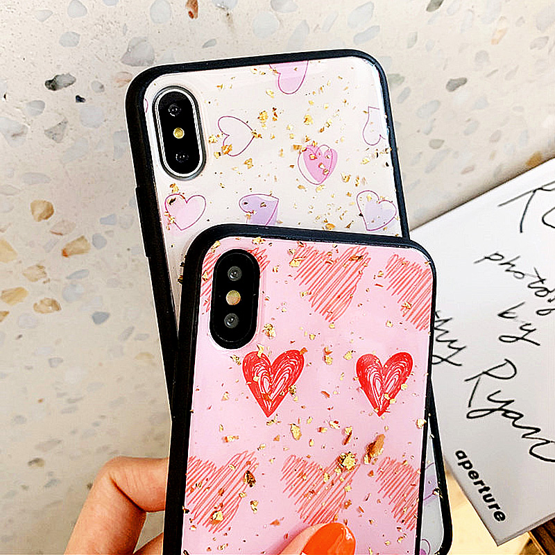 KIPX1088_6_JONSNOW Phone Case for iPhone XS XR XS Max 6S 7 8 Plus Gold Foil Love Heart Style Tempered Glass Back Cover Cases