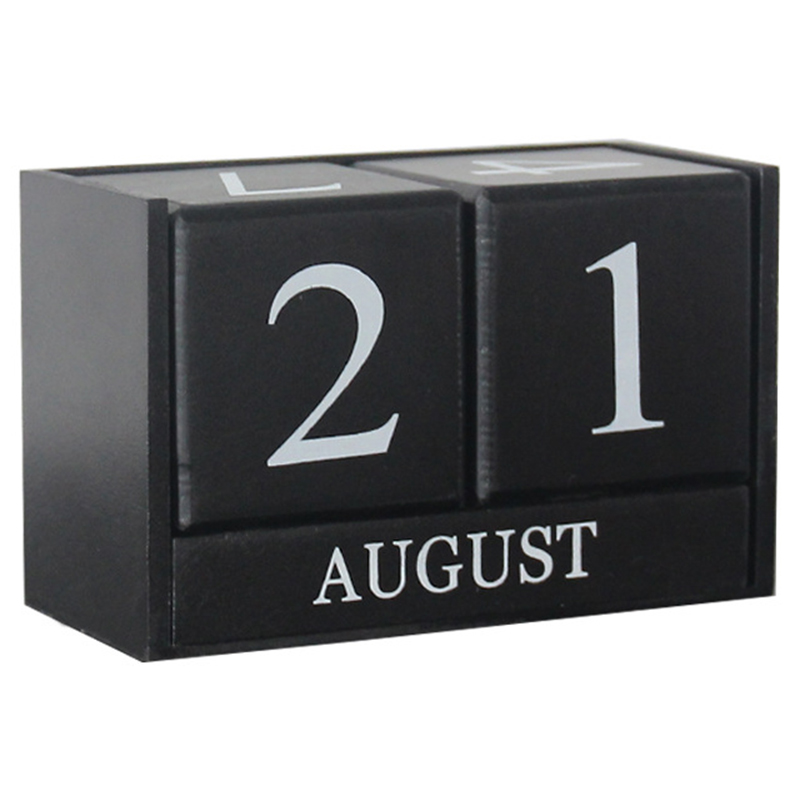 HOT-Vintage Wooden Perpetual Desk Calendar Block Planner Permanent Desktop Organizer Diy Agenda Table Decoration