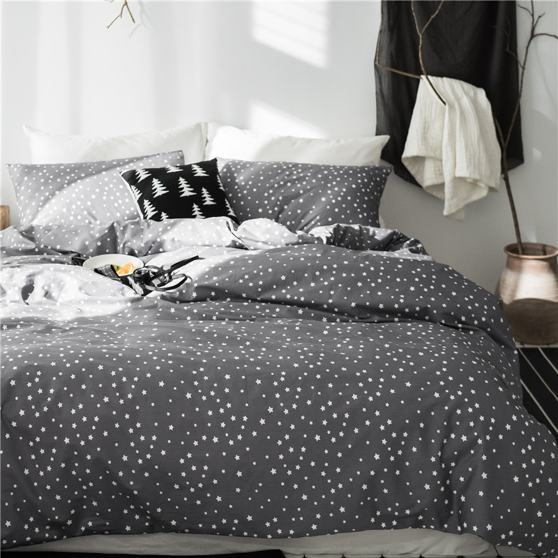 Grey Star 100%Cotton Cute Kids Twin Bedding Set Queen King Double Size Bed Set Duvet/Quilt Cover Bed Sheet Set Soft BedlinensGrey Star 100%Cotton Cute Kids Twin Bedding Set Queen King Double Size Bed Set Duvet/Quilt Cover Bed Sheet Set Soft Bedlinens