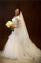 Plus Size Mermaid Bride Dresses Custom Made Long Sleeve Wedding Gown O Neck Applique Lace Bridal Dress