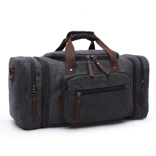 MARKROYAL Мужская парусиновая дорожная сумка мужской большой Ёмкость дорожные сумки ручной клади Сумка ночь дропшиппинг - Цвет: Black
