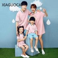 XiaGuoCai Famiglia Corrispondenza Outfit Madre E Figlia Si Veste e Anelli T-Shirt Risvolto rosa moda Traspirante outfits l15 35