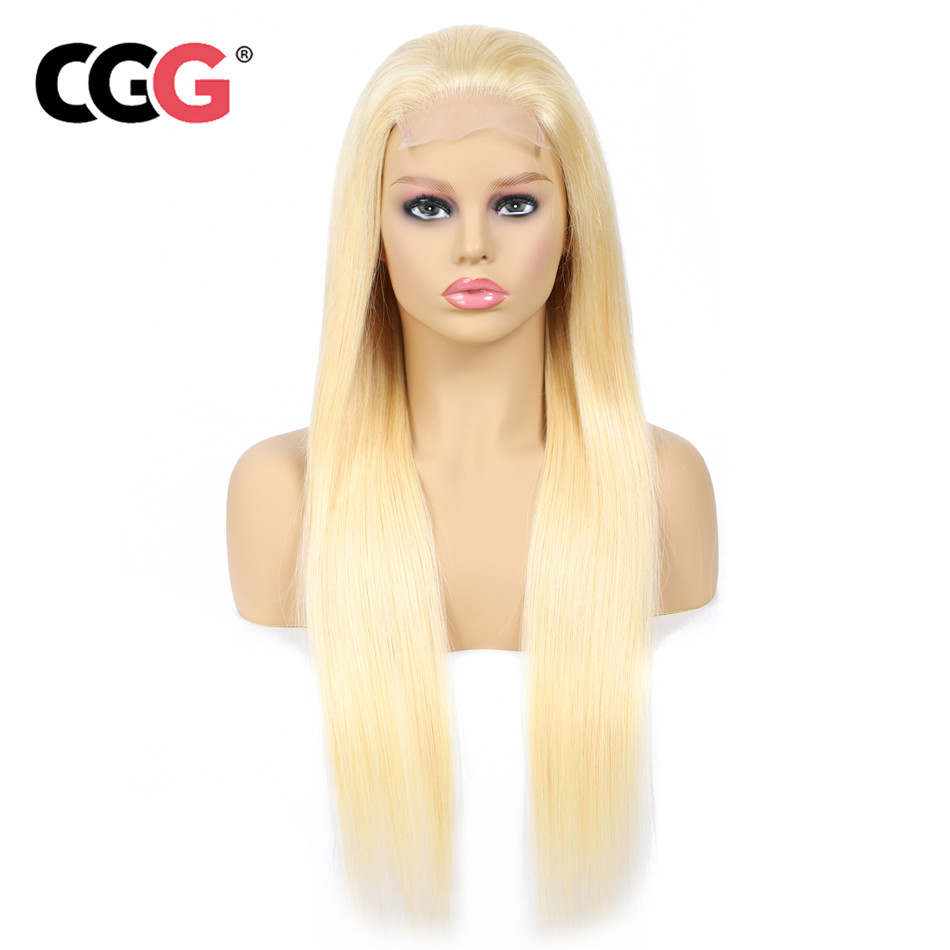 Lace-Wig-613 Brazilian Closure Human-Hair-Wigs Blonde Straight Pre-Plucked 150%Density
