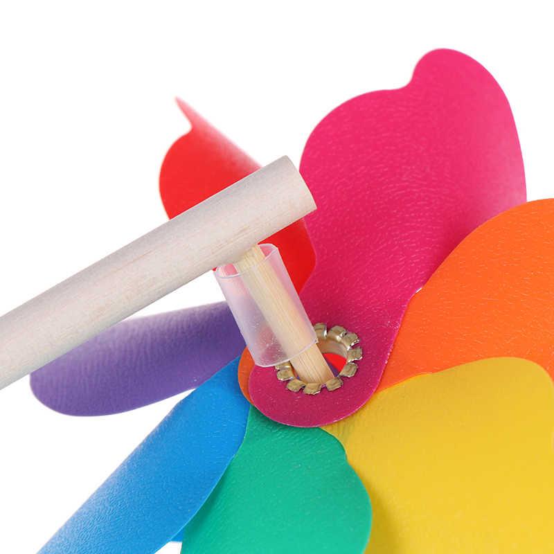 Bella di Alta Qualità di Legno Colorato Giardino Yard Partito Mulino A Vento Filatore del Vento Ornamento Decorazione Giocattoli Per Bambini