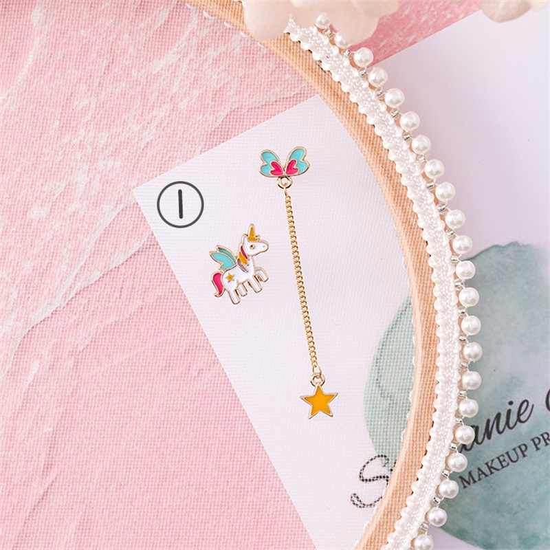 2019 Korean Cute animal Unicorn stud Earrings sweet star heart shape Pentagram Spaceship long Earrings for women fashion jewelry