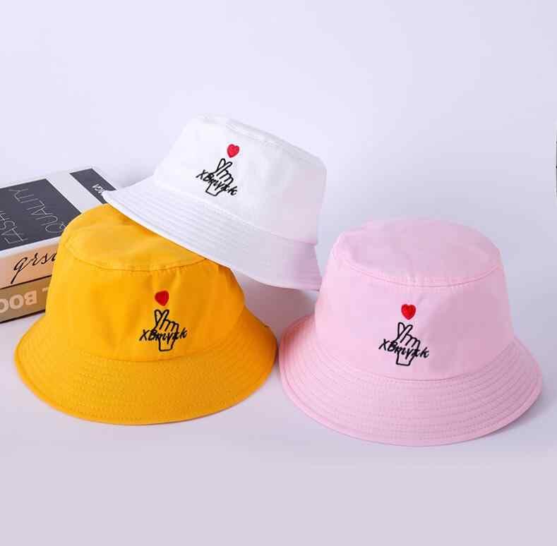1af4e817 ... Love heart embroidery bucket hat for men women hip hop fisherman hat  Adult lover's panama bob ...