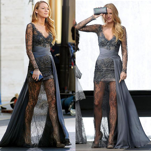 Dark Gray See Trough Lace Gossip Girl Serena Prom Dresses Long Sexy ...