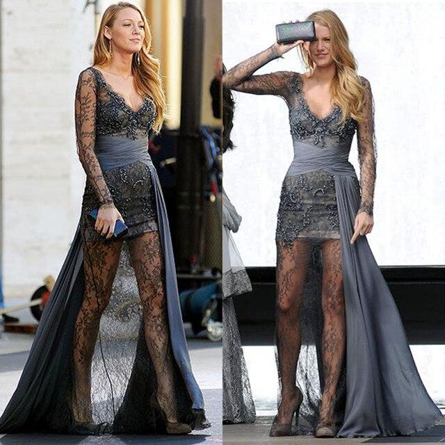 Dunkelgrau Siehe Trog Spitze Gossip Girl Serena Prom Kleider Lange ...
