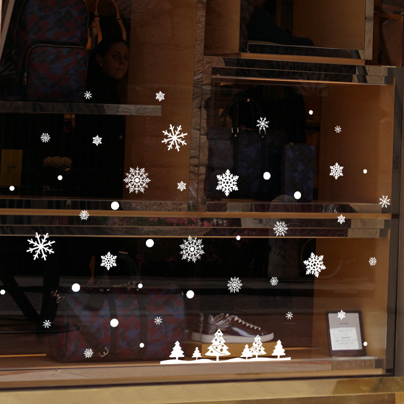 Snowflake Christmas Tree Electrostatic Sticker Window Glass Christmas Wall Stickers Home Decals Decoration New Year Wallpaper