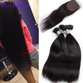 Straight Hair Silk Base Closure with Bundles Peruvian Virgin Hair Straight Silk Base Closure 8A Grade Peruvian Hair with Closure