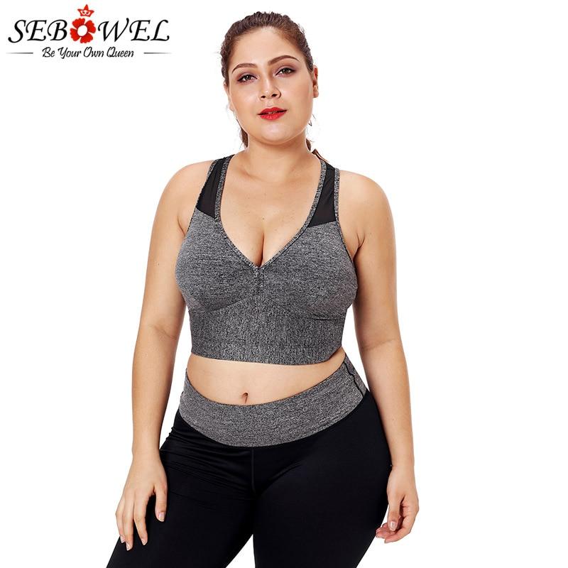SEBOWEL Plus Size Sports Bra Women High Elastic Push Up