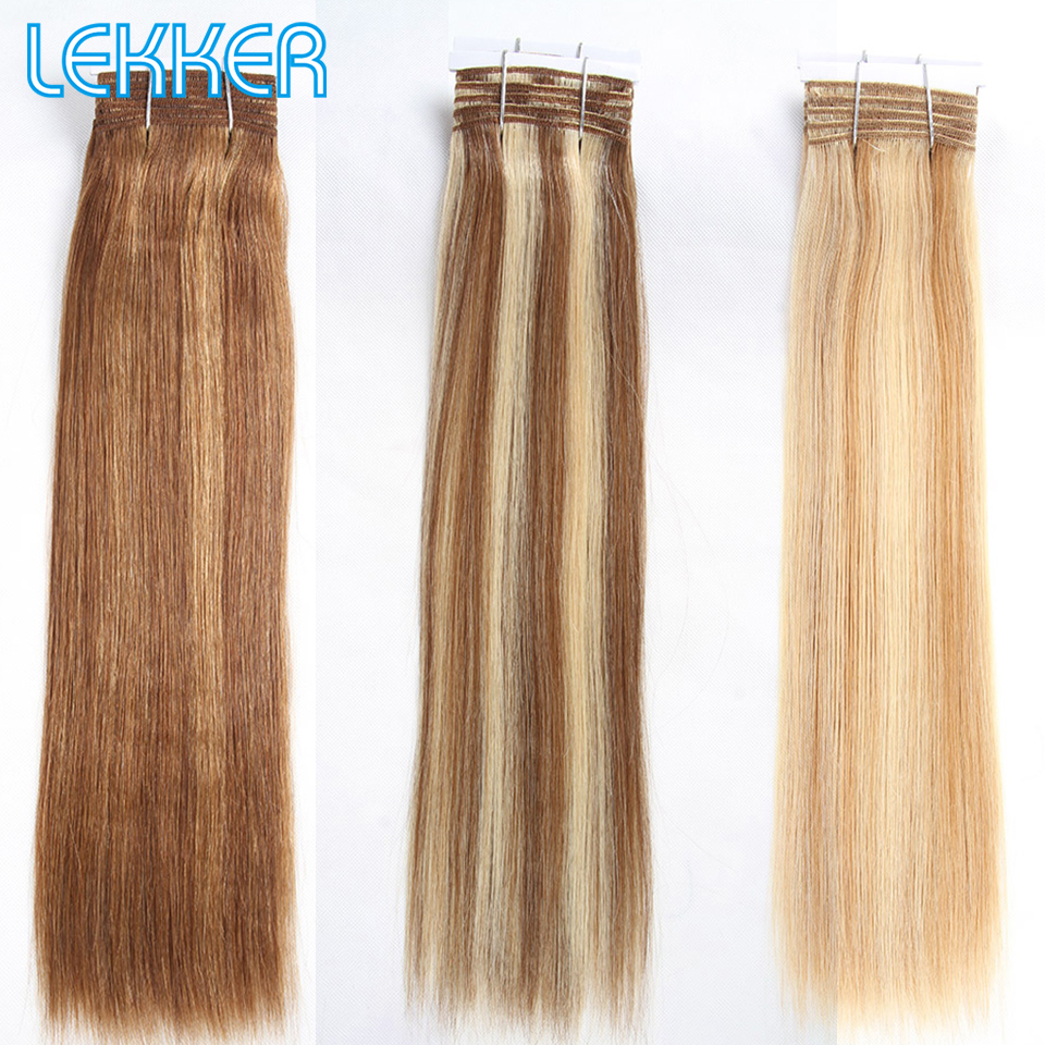 Lekker Hair Color P6/613 Brazilian Remy Human Hair Bundles Yaki Straight Hair Weave Piano Colors Blonde Bundles Six Colors