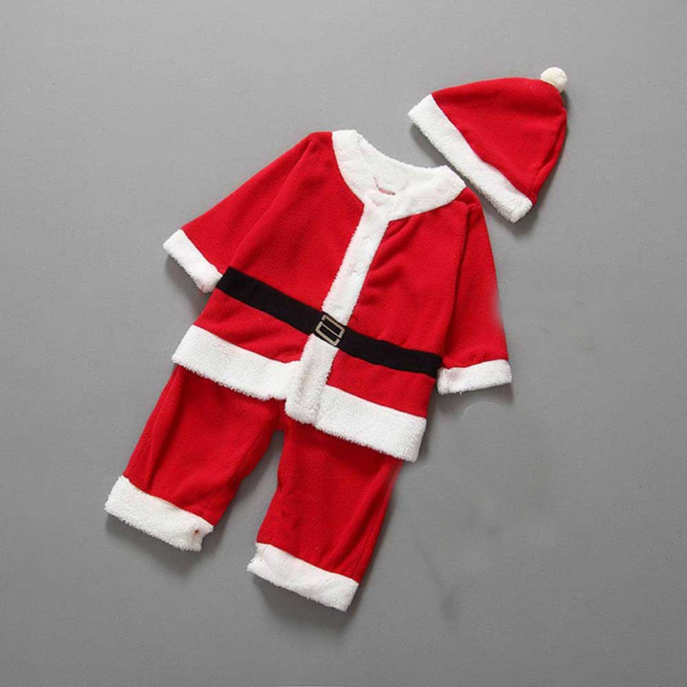 Christmas Clothing Santa Claus Cosplay Costumes Baby Infants Overall Girls Boys Rompers Roupas De Bebe Christmas Hat S2405