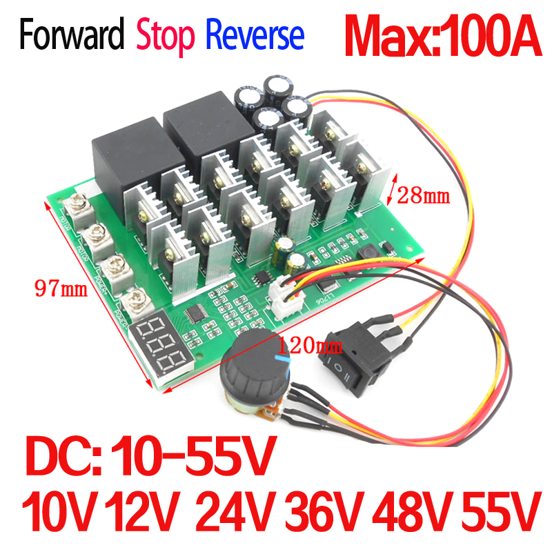 5500W High Power 100A  DC Motor Controller DC 10V 12V 24V 36V 48V 55V Motor Drive pwm bldc  motor controller panlongic hand twist grip hall throttle 100a 5000w reversible pwm dc motor speed controller 12v 24v 36v 48v soft start brake