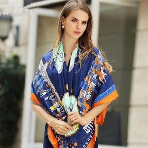 Image 5 - Foulard carré en sergé en soie pour femmes, style Eur, mode pour poussette, Paris, imprimé, bandeau, cadeau, grand luxe, châle, Hijab, collection 100%
