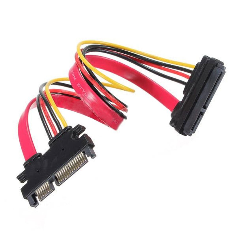 22 Pin Male to Female 7+15 pin 5 Wire SATA Data Power Combo Extension Cable