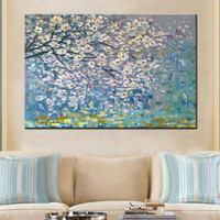 Modern Home Decor Large Knife Blossoming Floral Paintings Hand Painted Abstract Flower Oil Painting On Canvas