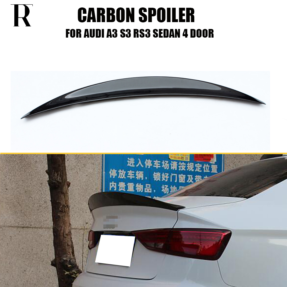 A3 S3 RS3 HK Style Carbon Fiber Rear Trunk Wing Spoiler for Audi A3 S3 RS3 Sedan 4 Door 2014 - 2016