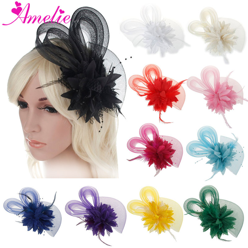 Free Shipping 10pcs a lot Mix colors Feather and Flower Fascinator Cocktail Hat Wedding Party Church
