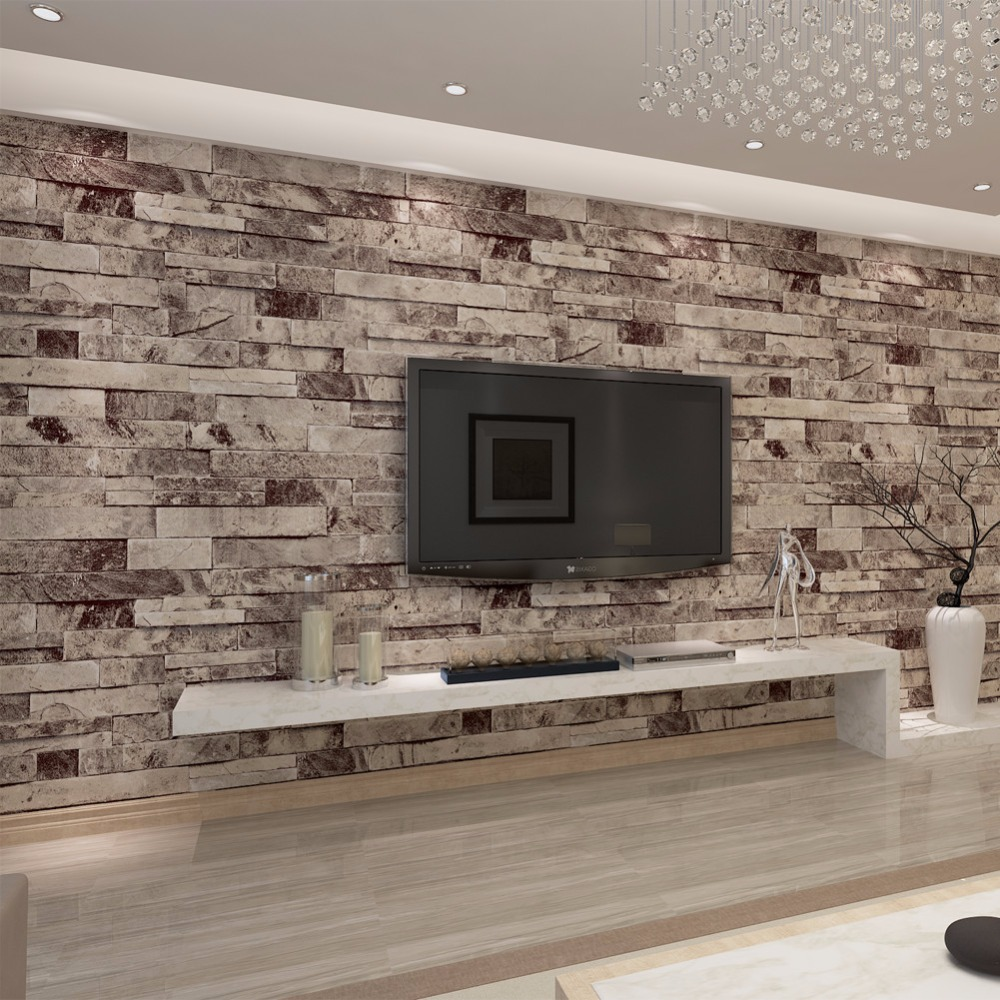 HANMERO PVC Vinyl Modern Stone 3D photo Wallpaper Living room ...