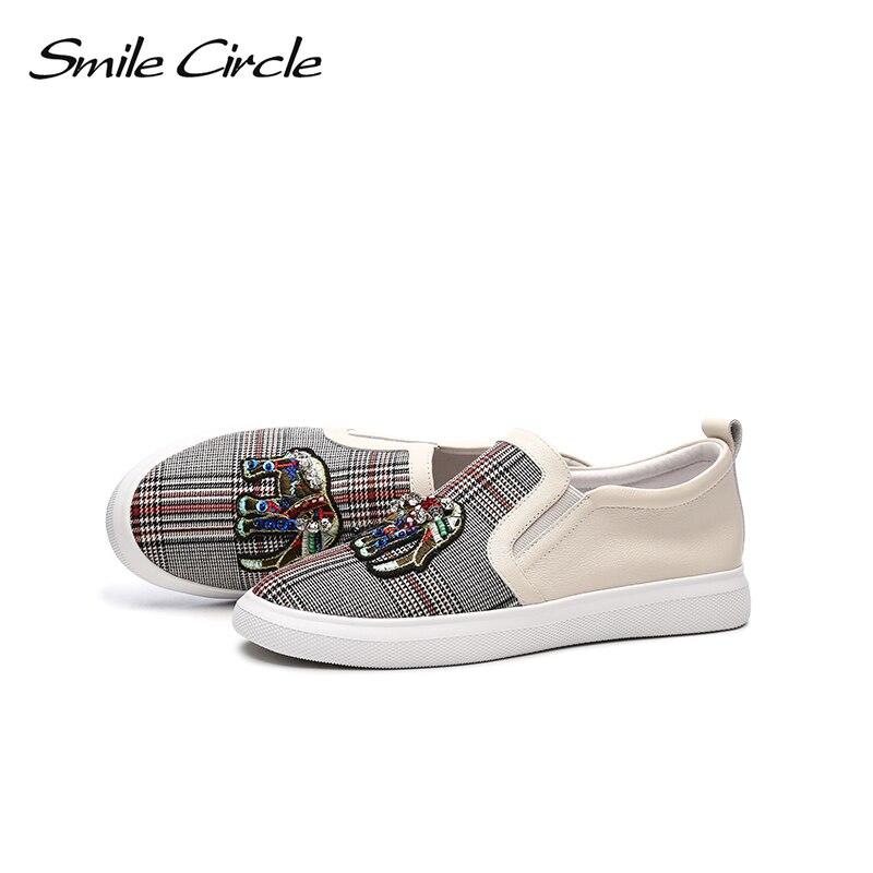 Ayakk.'ten Vulkanize Kadın Ayakkabıları'de Gülümseme Daire 2018 Bahar Hakiki deri sneakers Kadın Moda Taklidi Düz platform ayakkabılar Kız rahat ayakkabılar Loafer'lar'da  Grup 3