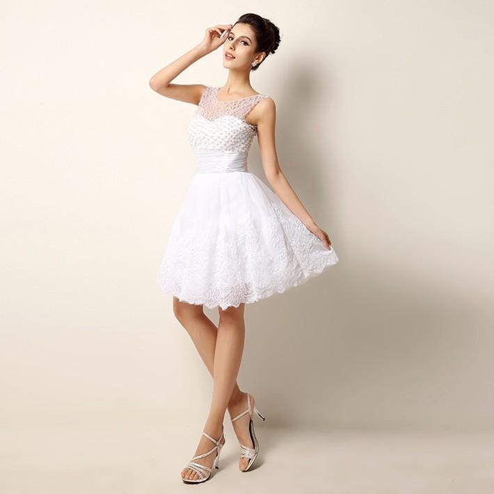 Vintage Lace Beading Short Wedding Dress 1