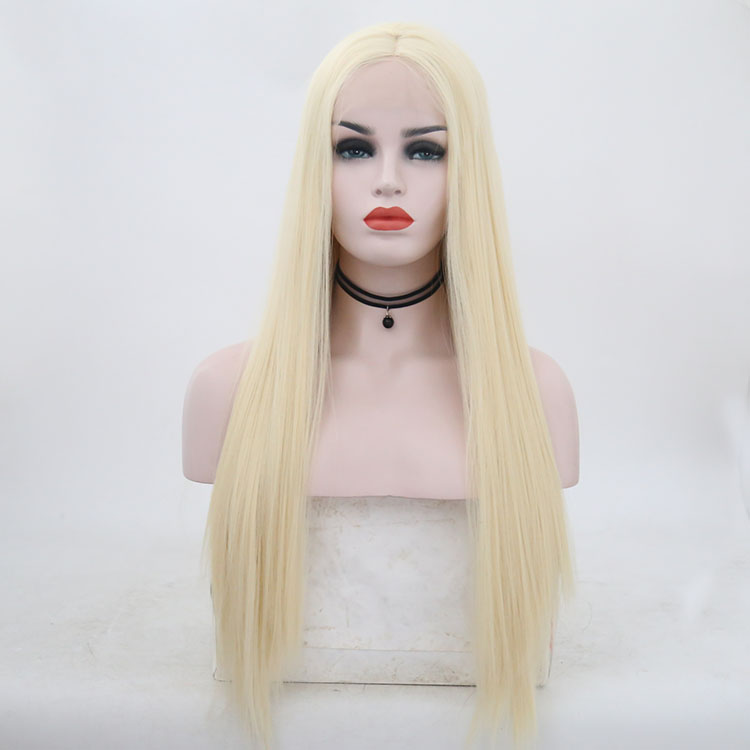 """Image 5 - JOY&BEAUTY 18"""" 26"""" Silky Straight Synthetic Lace Front Wigs #60 Blond 150% Density Heat Resistant Wigs With Natural Part Wig for-in Synthetic Lace Wigs from Hair Extensions & Wigs"""
