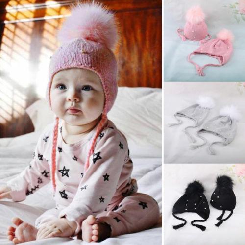 Top Winter Cute Baby Girls Kids Pearl Faux Fur Pom Bobble Strap Hats  CH82