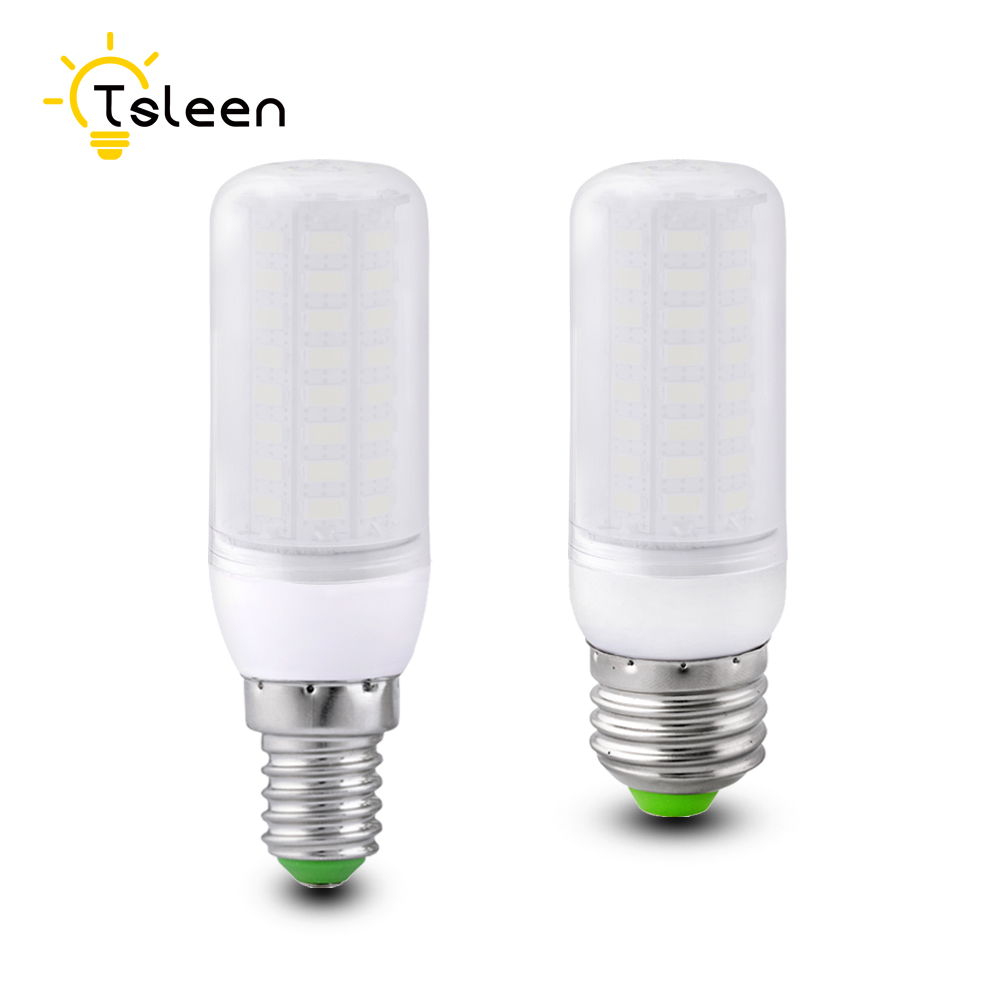 TSLEEN 1/10 X LED Bulb E27 E14 B22 GU10 G9 Corn Light Lamp 220V Eye Protection Milky-lampshade 5730 Replace Energy Saving Lamp